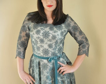 Vintage Teal Lace Dress with Satin lining slip