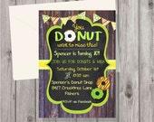 Digital Chalkboard & Rustic Wood Donut Birthday Girl or Boy Party Invitation Printable