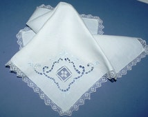 """Two White Linen Madeira napkins  Soft blue cut-work with delicate woven lace 12.5"""" square"""