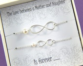 Mother and Daughter Bracelet Set, Large and Small Sterling Silver Infinity Bracelet, Pearl Infinity Bracelet, Mothers Day Gift