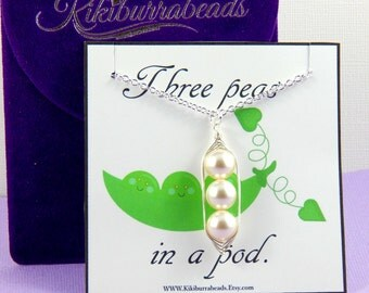 Peas in a pod, Three Peas In A Pod Necklace, mothers necklace, friendship necklace, sisters necklace, Gift Boxed Necklace