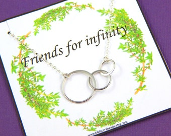 Friendship Necklace, Triple Ring Necklace, Best Friends Necklace, Sisters Necklace, Sterling Silver, Gift Pouched necklace