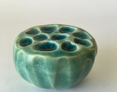 Tiny Turquoise Ceramic Holey Lotus Wall Art Pod with Blue Glass 3