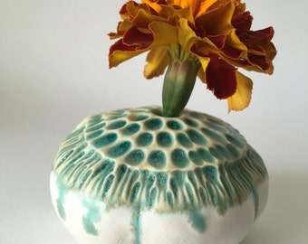 Turquoise and White Anemone Pod Vase for One Flower Ceramic Vessel 4