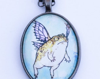 "Art print pendant necklace ""Fairy Princess"" rain frog toad art pendant cute"