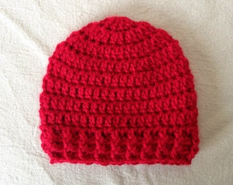 Red Baby Hat, CROCHET BABY HAT, Newborn Hat, Baby Girl, Beanie, Winter Baby Hat, Christmas Baby Hat, Baby Shower Gift, New Baby Winter Hat
