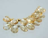 7 Gorgeous AAA Citrine Micro Faceted Pear Briolette Beads, 8.7cts, 6mm x 8mm Natural Citrine Faceted Pear Briolettes, Eye Clean, Transparent