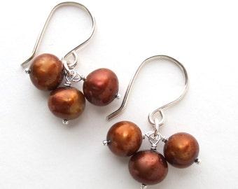 Gold Freshwater Pearl Earrings Sterling Silver. Light Brown Freshwater Pearl Earrings in Sterling Silver