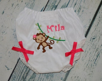 Personalized Monkey Bloomers Diaper Cover Monogram