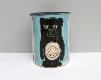 "Animal Cup, Blue Tumbler with Rabbit and Black Bear, Ceramic Pottery Cup with Woodland Animals, Animal Pottery, ""Get In Me Belly"""