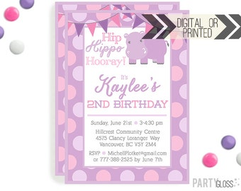 Hippo Birthday Invitation | Digital or Printed | Purple Hippo Invitation | Pink Hippo Invitation |  Hippo Invite | Lilac Hippo Party Theme