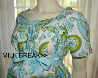 Maternity Hospital Gown with Milk Breaks/white with blue and green paisley print/Fits pre-pregnancy size 2/4