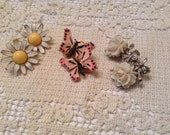 Vintage Designer Clip On Earrings, 3 Pairs - Coro White Rose, Daisy, Butterflies