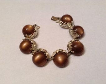 Vintage Chunky Chocolate Mocha Brown Thermoset Bracelet