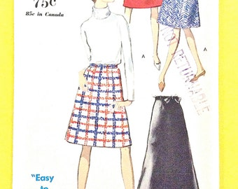 Uncut Vogue 6973  Misses' Skirt in Two Lengths: Evening or street length A-Line skirt has contour waistband Vintage Sewing Pattern Waist 25