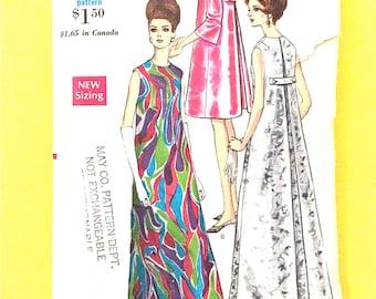 Vogue 7240 1960s Mod Evening Dress Vintage Sewing Pattern Bust 34 Hip 36