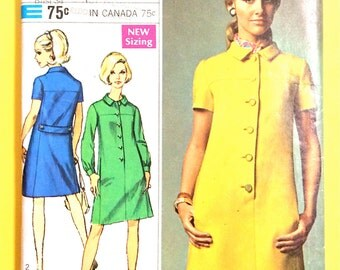 60s One-Piece Dress Simplicity 7473 set-in sleeves, bias collar, pockets concealed Front button closing  Vintage Sewing Pattern Bust 34