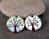 Enamel Tree Earring Charms, Nature Inspired Enameled Copper Earring Pair, Brown White Green Rustic Woodland Torched Fired Enamel, Sgraffito