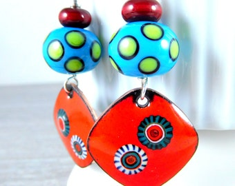 Colorful Enamel Earrings, Boho Dangle Earrings, Enameled Copper Jewelry, Red Blue Green Earrings, Polka Dot Glass Earrings, Unique, Lampwork