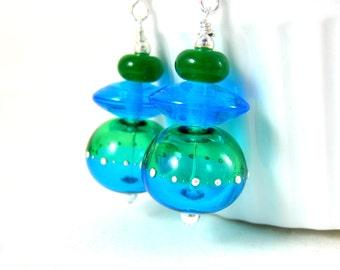 Blue Green Hollow Glass Bead Earrings, Funky Earrings, Bright Colors, Lampwork Earrings, Drop Earrings, Blown Glass Earrings Dangle Earrings