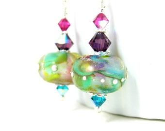 Pastel Glass Dangle Earrings, Purple Pink Teal Earrings, Colorful Etched Glass Earrings, Lampwork Earrings, Boho Jewelry, Rainbow Earrings