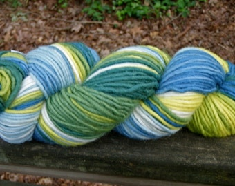 Spring At the Lake--4 Ounce Worsted Skein--Wool Mohair Blend--180 Plus Yards--Plant Dyed