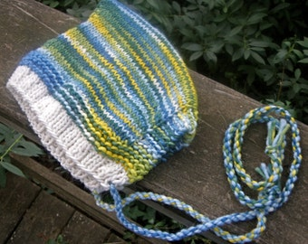 Baby Toddler Pixie Gnome Hat--6 to 18 Months--Spring at the Lake Colors--Wool Mohair Blend--Plant Dyed