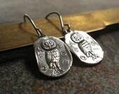 Owl Jewelry Athenian Owl Earrings Niobium Wire