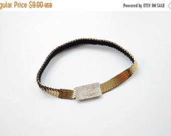 SUMMER SALE 1980s Gold Dragon Scale Elastic Belt 26 - 34
