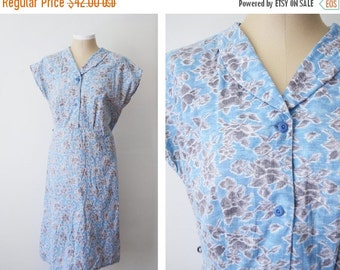 SUMMER SALE 1930s/1940s Handmade Cotton Floral Dress - L
