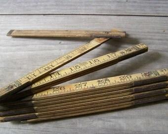 """Vintage Folding Ruler ~ Wood and Metal Ruler  ~ 72"""""""
