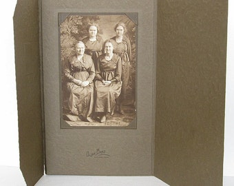 Vintage Real Photo 4 Women in Cardboard Frame, Group of Women