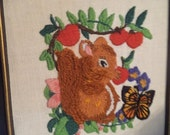 2 adorable vintage Cross Stitch Crewel Pictures ~ Squirrel with  Berries and butterfly ~ Mouse Strawberry