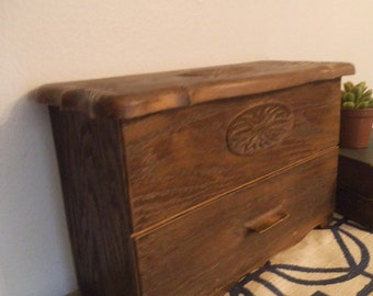 Faux Wood Storage Chest ~ desk organizer ~ jewelry box ~ sewing box Lerner Cottage Chic
