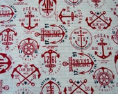 SEE SHOP ANNOUNCEMENT for % Off Coupon Code - The Boat House by Sweetwater for Moda - Pattern #5551 - Nautical Cotton - 1/2yd x 42in