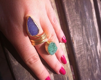 Druzy Ring, Green and Blue, Gold Plated, Adjustable, One of a Kind