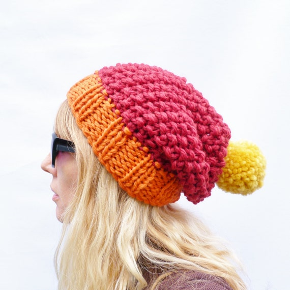 READY TO SHIP Chunky Knit Colour Block Slouchy Bobble Hat