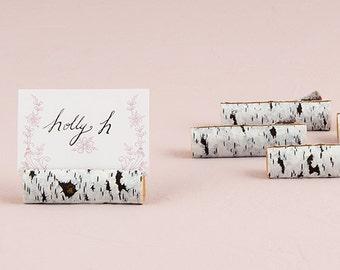 Faux Birch Log Card Holders (Set of 12 ) Wedding decor, Event, Trend Chalkboard Inspired Wedding