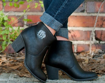 Trendy Monogrammed Ankle boots