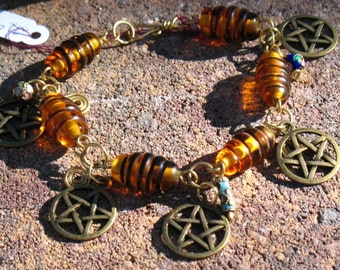 Amber Lamp Worked Glass PENTACLE Bracelet with Cloisonne Beads on Red Brass