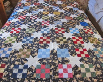 Patchwork quilt top, Stepping Stone, cotton quilt topper, colorful patchwork.homemade quilt, ready to quilt.unfinished patchwork quilt