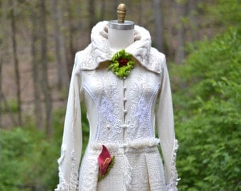 White Wedding embroidered sweater COAT with felted flowers/Fantasy Boho Eco Couture, Size Small/ Medium. Ready to ship