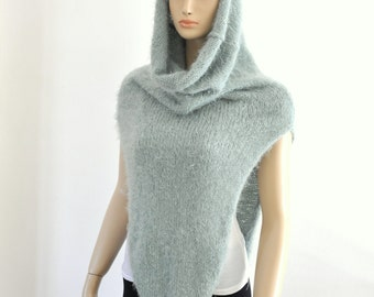 Knit Vest with Cowl, Oversized Scarf, Hooded Scarf, Snood, Scarf Cowl, Super Soft, Cozy, Chunky, Mint Green