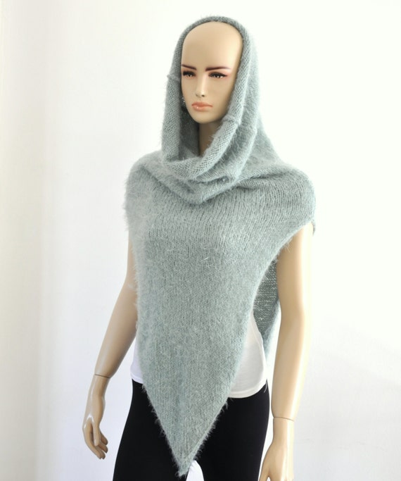 Knitted Hooded Vest Pattern : Knit Vest with Cowl Oversized Scarf Hooded Scarf Snood