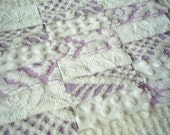 Vintage Chenille Bedspread Squares-Purple, Lavender and White