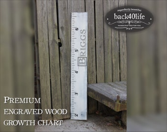 """SALE!! Engraved wooden ruler growth height chart (The Briggs) -  premium engraved lettering 60"""" (GC-60Briggs)"""