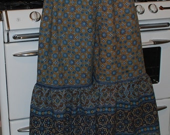 "Hippie Gypsy Pants -TanTeal Blue -Length 40"" - Hips 50""-  read measurements"