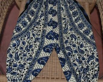 Hippie Kids Harem pants -size 3 -Blue circle pasiley -Boys or Girls-read measurements