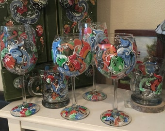 Hand painted rosemaled wine glasses choice of style