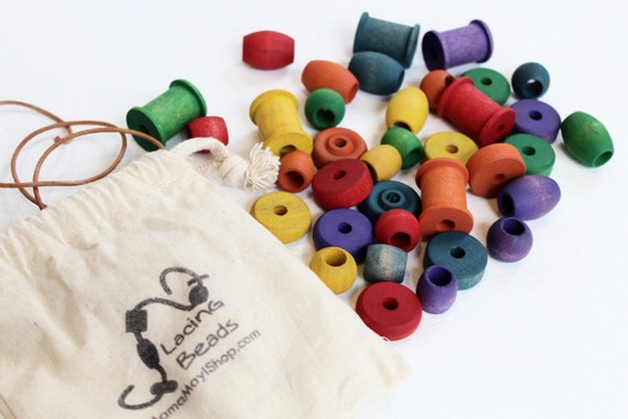 Lacing Beads - A Montessori and Waldorf Inspired Fine Motor Skill Game